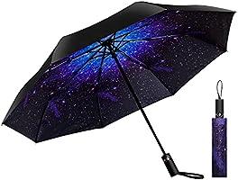 YOKITOMO 折りたたみ傘 ワンタッチ 傘 自動開閉傘 耐風撥水 UVカット 晴雨兼用 梅雨対策 台風対応 高強度グラスファイバー 収納ポーチ付き