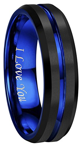- CROWNAL 4mm 6mm 8mm 10mm Blue Groove Black Matte Finish Tungsten Carbide Wedding Band Ring Engraved I Love You (6mm,10)