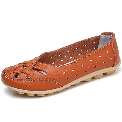 Aunimeifly Mom Comfortable Shoes Women Peas Boat Shoe Lady Criss-Cross Band Flats Hollow Out Soft Sandals Orange