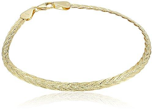 14k Yellow Gold Italian 5-Strand Diamond Cut Braided Herringbone Bracelet, 7.5