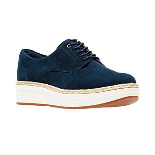 CLARKS Rhea Teadale Oxford Women's Suede Navy w4fq0vY