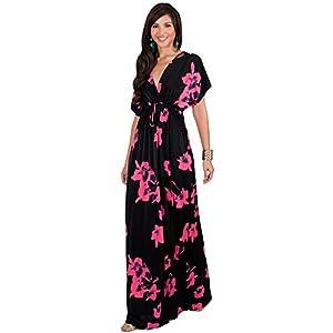 fcd16c9ed9eeb KOH KOH Petite Womens Long Kimono Short Sleeve Floral Summer V-Neck Flowy  Sundress Sundresses Print Cute Casual Evening Kaftan Sun Gown Gowns Maxi  Dress ...