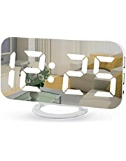 """Digital Alarm Clock,7"""" LED Mirror Electronic Clocks,with 2 USB Charging Ports,Snooze Mode,Auto Adjust Brightness,Modern Desk Wall Clocks for Bedrooms Living Room Office - White"""