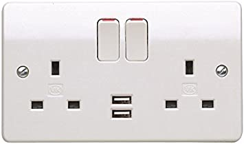 Double Wall Socket With 2 USB Twin fast Charger Plug Switched Ports 2 Gang