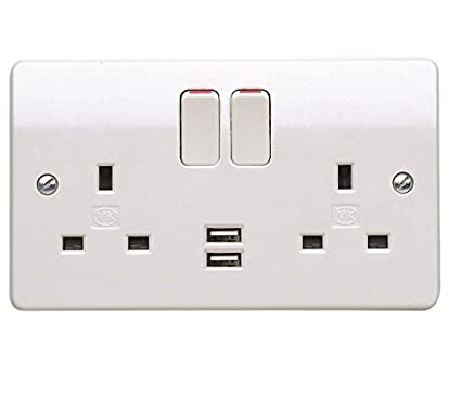 mk k2743whi 2 gang dual plug socket with 2 x usb charging ports and dual  earth terminals: amazon co uk: diy & tools