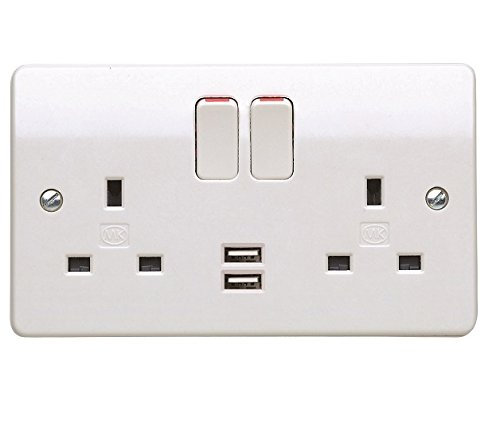 MK K2743WHI 2 GANG DUAL PLUG SOCKET WITH 2 X USB CHARGING PORTS AND on