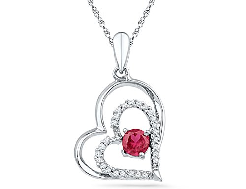 Lab Created Ruby 1/3 Carat (ctw) Double Heart Pendant Necklace in Sterling Silver with Diamonds 1/8 Carat (ctw)