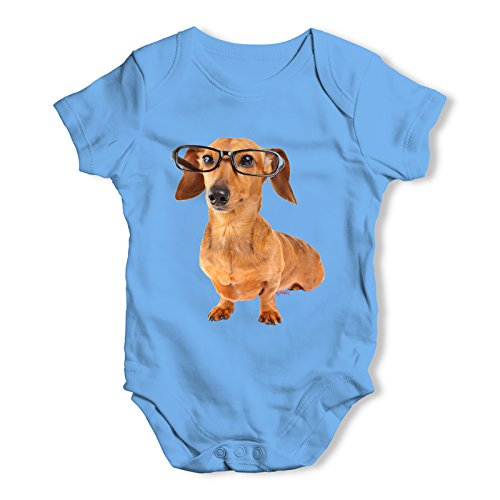 Twisted Envy Doxie Dachshund Hipster Dog Baby Unisex Blue Baby Grow Bodysuit 0 - 3 Months