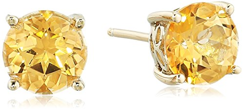 (Yellow Gold Plated Sterling Silver Honey Topaz Stud Earrings made with Swarovski Topaz Gemstones)