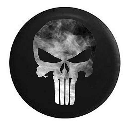 - Spare Tire Cover Smokin American Patriot Punisher Skull Grey White fits Jeep JK Camper RV Black 35 in