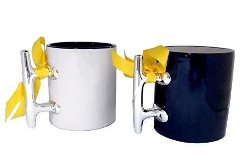 (Set of Two Ceramic Cleat Handed Boater Mug, White and Blue)