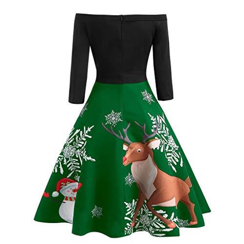 LISTHA Christmas Vintage Dress Women Off Shoulder Evening Party Flare Dress