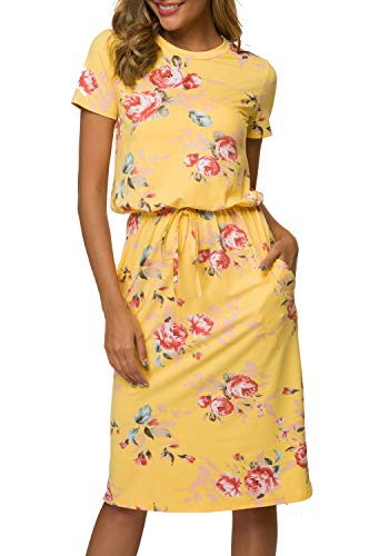 Women's Floral Short Sleeve Work Casual Midi Dress with Belt Yellow M