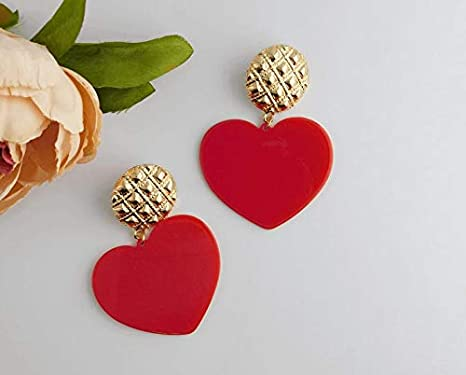 Heart earrings Statement jewelry Black and red earrings Dangle earrings Contemporary jewelry Valentines day gift