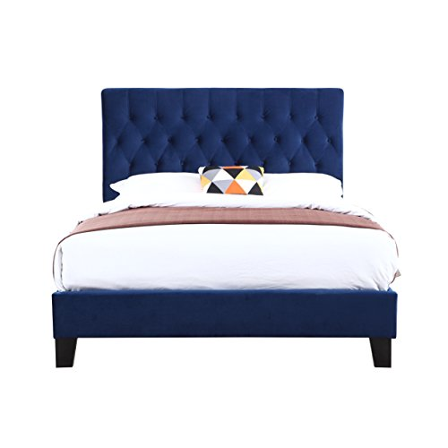 Upholstered Bed With Tufted, Padded Headboard, And Platform-Style Base (Velvet Headboard Navy)
