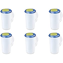 Sterilite 04820006 2 Quart Round Pitcher, Blue Sky Lid w/ Lime Tab & Clear Base, 6-Pack