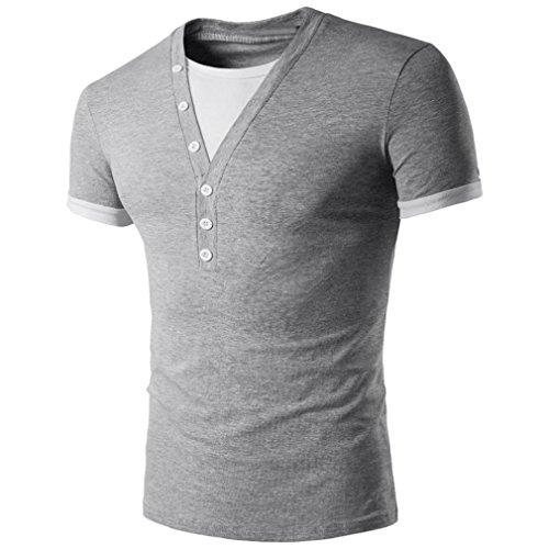 Mens Slim Fit T-Shirt,BeautyVan Fashion Design Men Summer Fashion Splicing V Neck Pullover Men's Short-sleeved T-shirt (L, Gray) Check Party Dress