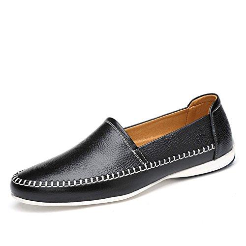 Negro de ailishabroy Mocasines Hombre Piel Conducción Casual de Zapatos para 55Pfz7q