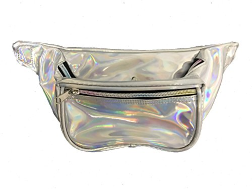 80s Style Makeup (BAM Fanny Pack Waist Bands 80s 90s Style Fashion (Silver Hologram))