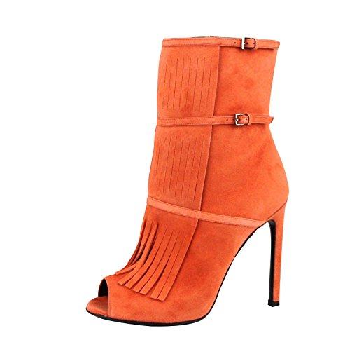 Gucci Orange Suede Peep Toe Gladiator Fringe Becky Bootie Boots 347283 6525 (7 US / 37 - Gucci Orange
