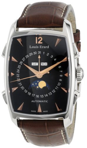 Louis Erard Men's '1931' Swiss Automatic Stainless Steel and Leather Casual Watch, Color:Brown (Model: 44211AA02.BDC50)