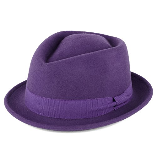 100% Wool Diamond Shaped Pork Pie Hat with Grosgrain Band Handmade in Italy (Purple, L (59 (Purple Fedora)