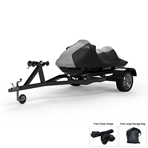 (Weatherproof Jet Ski Covers for SEA DOO GTI SE 155 130 2008-2013 - Gray/Black Color - All Weather - Trailerable - Protects from Rain, Sun, UV Rays, and More! Includes Trailer Straps and Storage Bag)