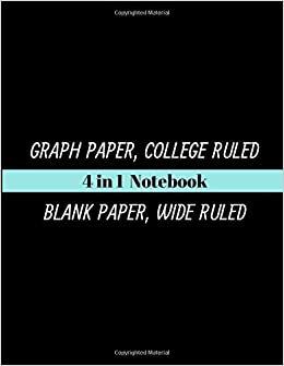 4 in 1 notebook graph paper college ruled blank paper wide ruled