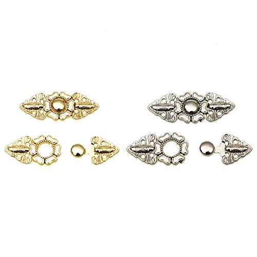 (Pomeat 4 Pairs of Flower Cape or Cloak Clasp Fasteners , Hook and Eye Cloak Clasp Fasteners Sweater Jewelry Fastened Cardigan Clip, Gold and Silver)