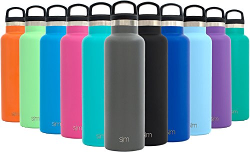 Simple Modern 20oz Ascent Water Bottle - Vacuum Insulated Double-Walled Standard Narrow Mouth 18/8 Stainless Steel Swell Flask with Handle Lid - Powder Coated Hydro Travel Mug - Slate Gray