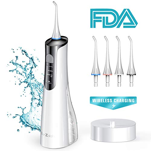 BerZalah Water Flosser Cordless Water Flosser 2019 Newest Wireless Charging Flosser Changing Alternating Frequency LCD Display 3 Modes 4 Tips Travel Bag, Teeth Cleaner Portable for Home Office Travel