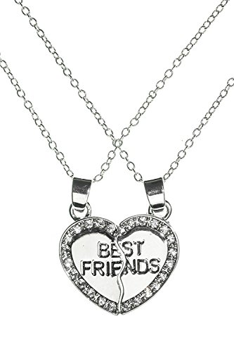 Best Friends Two Pieces Heart – Handmade Alloy Pendant double Necklace by Beautifly with a 16-inch Chain