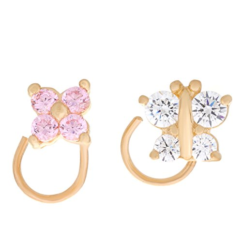 Lavari - 14K Yellow Gold Butterfly Flower Cubic Zirconium Nose Ring Set (14k Cubic Ring Zirconium)