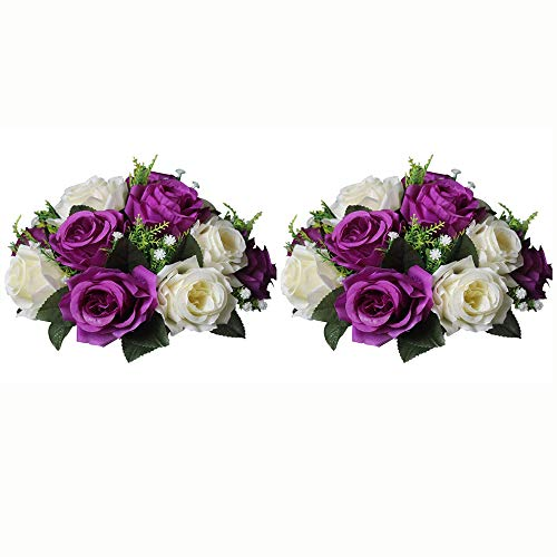 (Pcs of 2 Fake Flower Ball Arrangement Bouquet,15 Heads Plastic Roses with Base, Suitable for Our Store's Wedding Centerpiece Flower Rack for Parties Valentine's Day Home Décor (Purple & White))