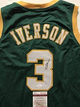 eac1a3b5014 Image Unavailable. Image not available for. Color: Autographed/Signed Allen  Iverson Bethel High School Green Basketball Jersey ...