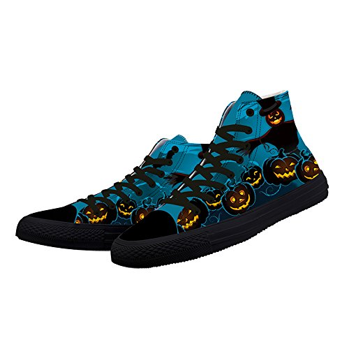 FIRST DANCE Classic Canvas Shoes Womens Halloween Scary Pumpkin Print Sneaker LxIam