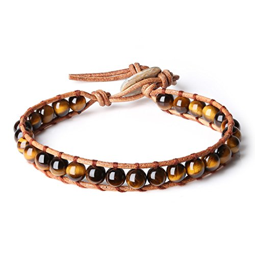 Tigers Leather (COAI Leather Genuine Crystals Tiger Eye Stones Mala Beads Chakra Bracelet)