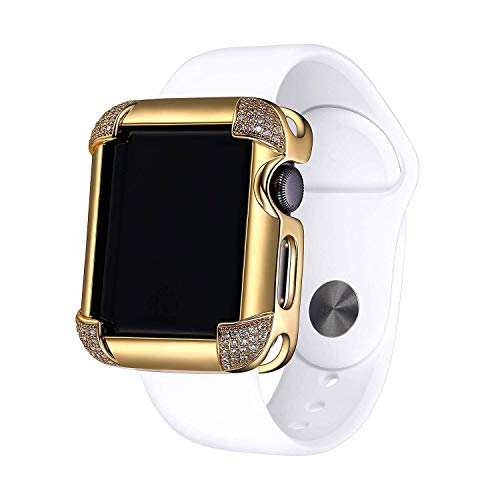 18K Yellow Gold Plated Jewelry-Style Apple Watch Case with Cubic Zirconia CZ Pavé Corners - Small (Fits 38mm - Case Plated Gold 18k