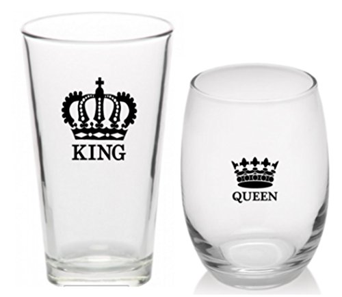 King & Queen Beer and Wine Glass Set of 2 - One 16 ounce Pint Beer Glass and one 15 ounce Stemless Wine Glass Wedding Gift for Bride and Groom by Monkeyshine Wine