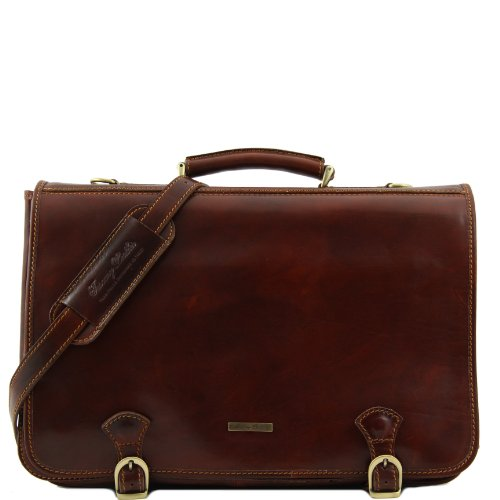 8100254 - TUSCANY LEATHER: Ancona - Messenger Tasche aus Leder - Gross, Braun