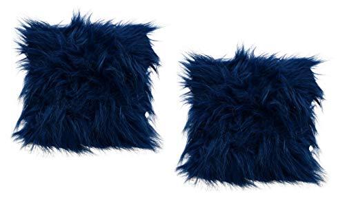 A&T Designs Set of 2 Navy Blue Faux Fur Plush Mini Throw Pillows - Glamorous & Trendy!