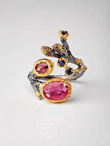 Amazon.com: Ruby Ring Anniversary gift for wife pink ...