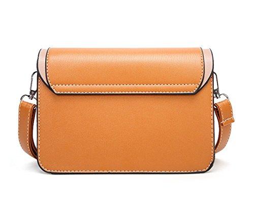 Shoulder Retro Moda Bolsa Oil Ladies Crossbody Bag Purse Square Messenger De Wax Small Cuero Yellow AnnFxwq