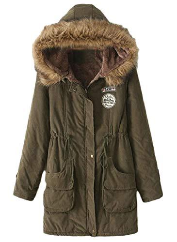 Cappotto Con Gocgt Invernali Elegante Donna Cappuccio Verde Esterno Parka Cappotti Militare f1fxOwt