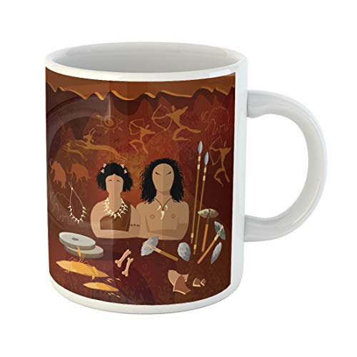 Emvency Funny Coffee Mug Stone Age Cave Man and Woman Neanderthal Family in Prehistoric Tool Neolithic 11 Oz Ceramic Coffee Mug Tea Cup Best Gift Or Souvenir ()