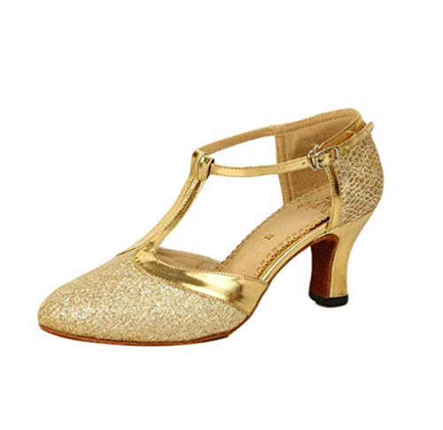 Dance T Shoes High Latin Tango Womens Gold Heel Salsa CHENYANG Ballroom Strap Glitter Closed Toe ORxv7