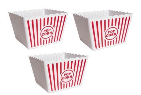 Reusable Popcorn Tubs for Movie Night (3, Large 8.75 x 8.75 x 7.25)