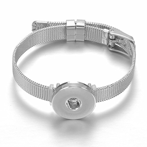 Link Chain Belt Silver Tone (Royalbeier Mesh Bracelet Stainless Steel Snap Button Bracelet Novelty Crystal Love Charm Bracelet Belt Shape DIY Accessories (SZ0452j))