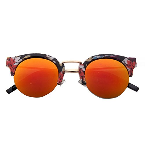 GUGGE Half Frame Retro Round Reflective Sunglasses Color - Sunglasses Tacchini