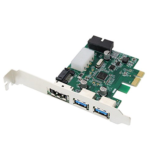 LiuTian PCIe to USB 3.0 & eSATA Expansion Card (2 x USB3.0 & 1 x eSATA), PCI Express to USB 3.0 2 Port and Power eSATA External Hub Controller Adapter with Internal 19-Pin Connector for Desktop PC by LiuTian